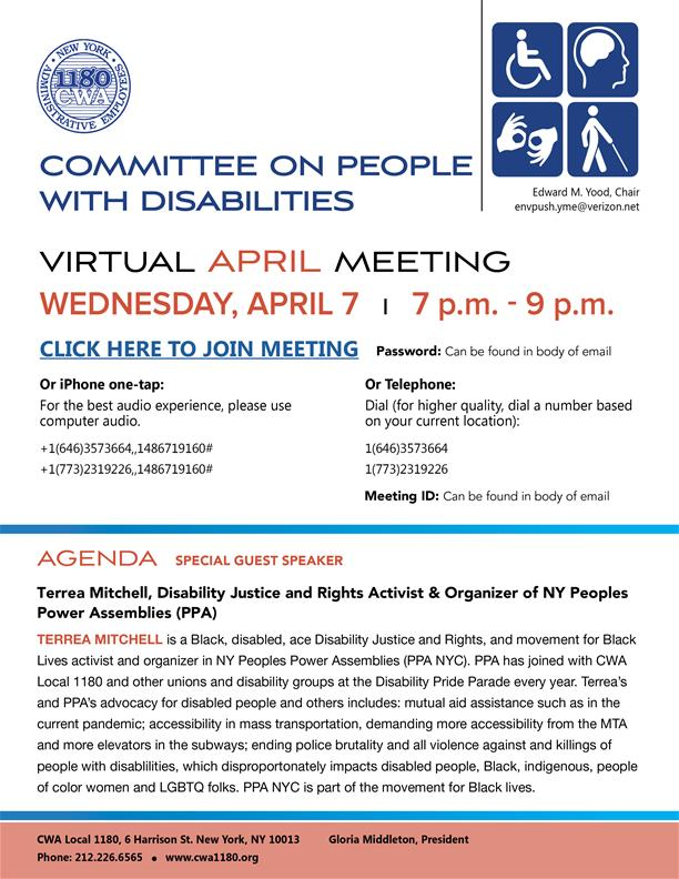 People With Disabilities Committee Virtual Meeting April 2021B